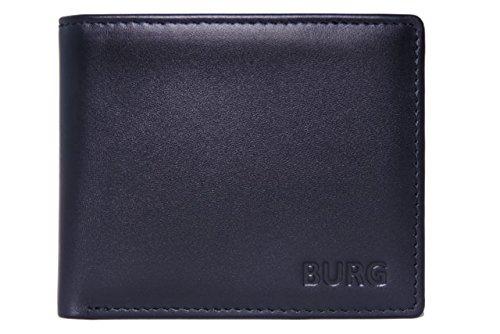 Burg RFID-sicheres Portemonnaie für Herren, echtes Leder, Geldbeutel mit Schutz für Kontaktlos-Karten. Geschenk für Herren schwarz