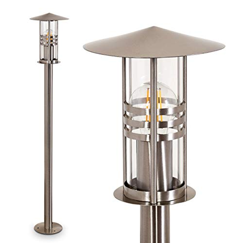 Außenleuchte Forli, moderne Sockelleuchte aus gebürstetem Edelstahl und Glas, Wegeleuchte 100 cm, Gartenlampe mit E27-Fassung, max. 60 Watt, Gartenbeleuchtung IP44, geeignet für LED Leuchtmittel