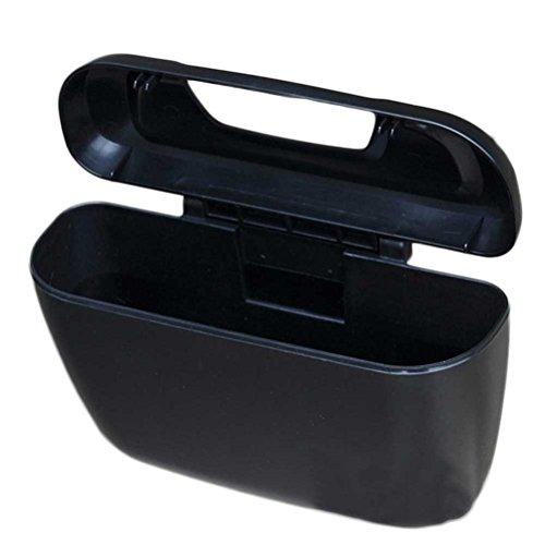 VORCOOL Mini papelera de coche universal portátil de viaje para coche cubo de basura (negro)