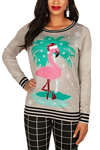 Tipsy Elves Women's Sequined Ugly Christmas Sweater with Shiny White and Pink Sequins Featuring Cute Flamingo Pullover Size Medium