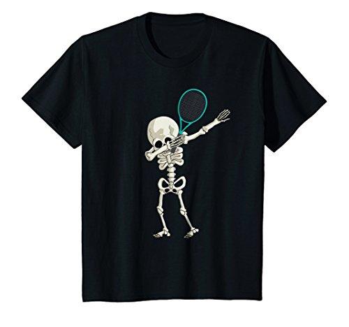 Kids Halloween Skeleton Tennis Dabbing Shirt Skeleton Dance Tee 10 Black