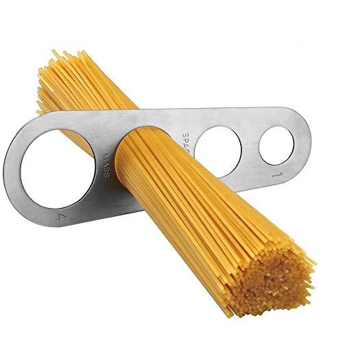 KLYJ Edelstahl-Spaghetti-Messgerät, Pasta-Messgerät, Küchenhelfer, Spaghetti-Nudel, 4 Löcher, Portionskontrolle, misst bis zu vier Erwachsene