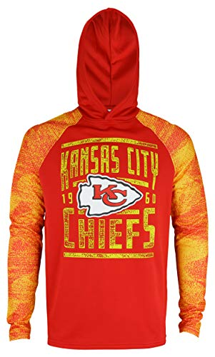 Zubaz NFL Men's Performance Light Weight Pullover Hoodie with Static Sleeves, Kansas City Chiefs Large>