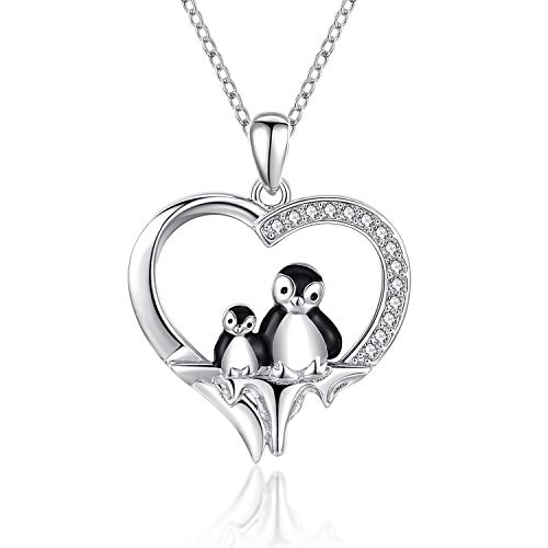 CHENGHONG Penguin Necklace for Women 925 Sterling Silver Mother and Child Penguin Heart Pendant Cute Animal Necklace Penguin Friendship Necklace Mothers Gifts for Mom Daughter Girlfriend Wife