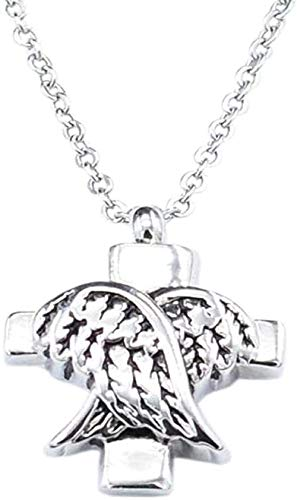 NC190 Collar de urna de cremación con alas de ángel, colgante de botella de perfume y cruz para urna de animales