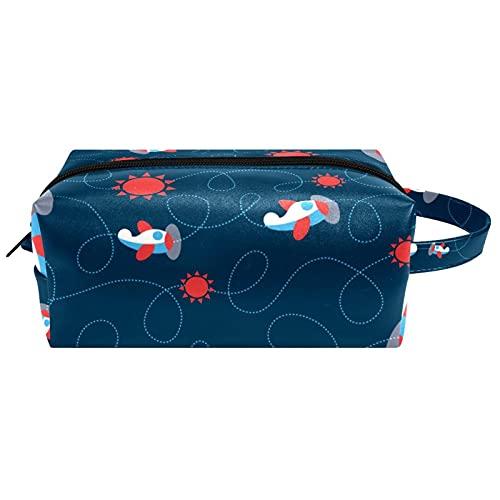Baby Cartoon Planes Navy Sfondo articoli da toeletta da viaggio borsa cosmetica per le donne in microfibra pelle trucco Handy Pouch Organizzatore con cerniera