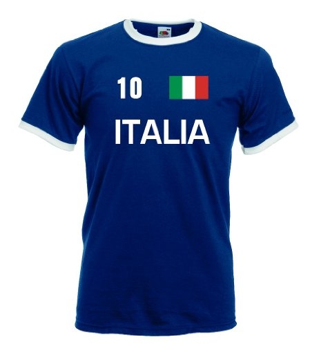 Fruit of the Loom Italia/Italien Herren T-Shirt Retro Trikot Nr.10|Navy XL