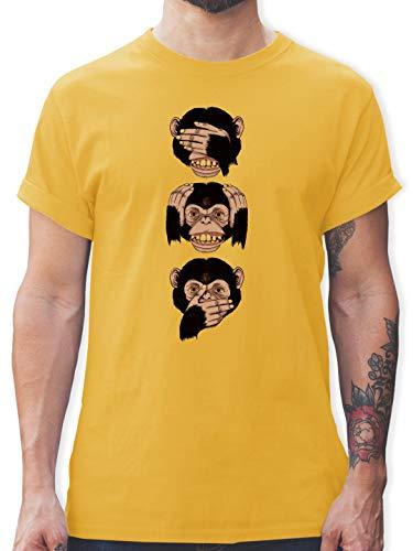Statement - DREI Affen - Sanzaru - L - Gelb - Herren Tshirt AFFE - L190 - Tshirt Herren und Männer T-Shirts