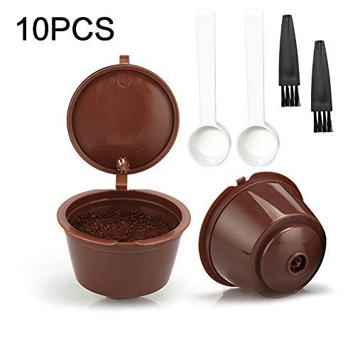 YLX Kaffeekapsel Wiederverwendbare, 6 Pack Kaffeekapseln für Dolce Gusto mit 2 Kaffeelöffel und 2 Bürste (10PCS)