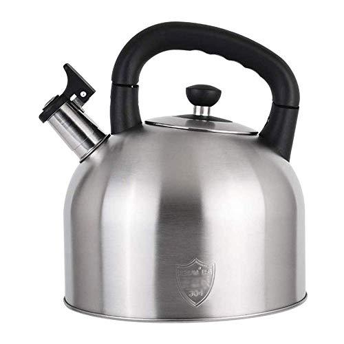 SGSG Tetera Whistling Tea de Acero Inoxidable CWC Tetera, Teteras 4L de Gran Capacidad, Teteras para Estufa (Tono Plateado) (Tamaño: 4L)