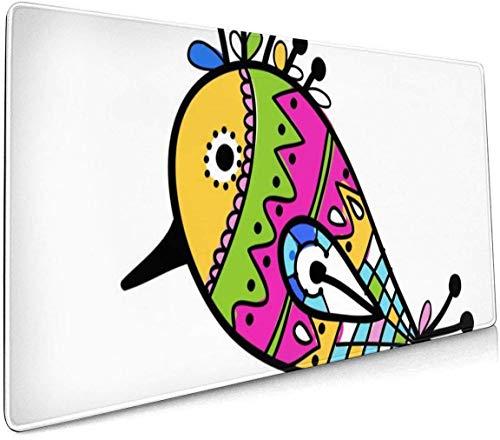 Muziek Opmerkingen Op Een Abstract Kleurrijke Profional Grote Muis Pad Toetsenbord Pad Lange ed Multifunctionele Computer Game Muis Mat Eén maat Funny Colorful Bird