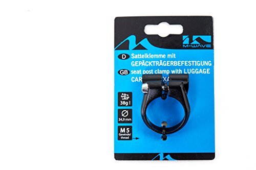 Sattel Schelle Klemme M-Wave mit Gepäckträger Befestigung Ösen 34,9mm Alu schwarz