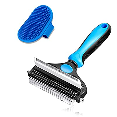 CGBE Dog Brush and Cat Brush, 2 in 1 Pet Undercoat Rake Grooming Tool for Deshedding, Mats & Tangles Removing, Shedding Brush and Dematting Comb for Large Dogs & Cats' Long & Short Hair Remover(Large) by CGBE