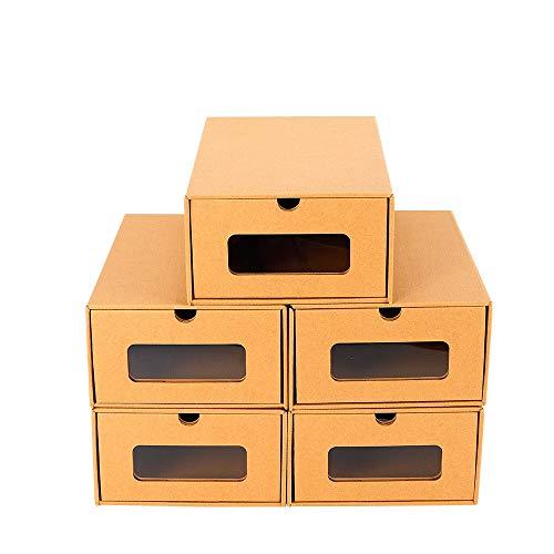 10X YIYIBY Schuhbox Schuhaufbewahrung Set Aufbewahrungsbox Stapelbar für Shoes Schuhkarton Schuhschachtel Allzweckbox Schublade Pappe