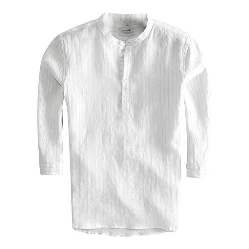 Hemd Herren Hemden Business freizeithemd männer oberhemden Moderne Casual anzughemden Freizeit Männer DREI Viertel Vintage Leinen Solide Kurzarm Retro T Shirts Tops Bluse