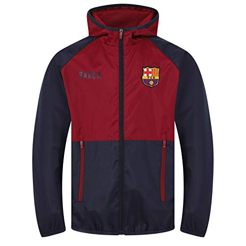 FCB FC Barcelona - Chaqueta Cortavientos Oficial - para Hombre - Impermeable - Azul Marino/Rojo - XL