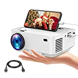 DBPOWER Mini Projector with Mirror Display(2018 Newest Technology)+50% Brighter, 50,000 Hours, Home Theater Projector 1080P/HDMI/VGA/USB/TV Box/Smartphone/Laptop/DVD/External Speaker Supported