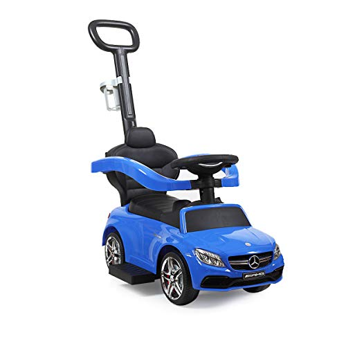 JAXPETY Benz Kids Ride-On Push Car Foot Operated Walker Stroller w/Handle and Cup Holder (Blue)