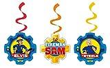 amscan 9902183 6 Dekospiralen Feuerwehrmann Sam, Mehrfarbig