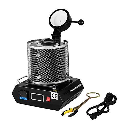 FlowerW 3KG Goldschmelzender Ofen 1150℃ Schmelzofen Gussmaschine 2100W Elektrische Schmelze Heizleistung Refining Edelmetalle für Schmuckstein(3KG)