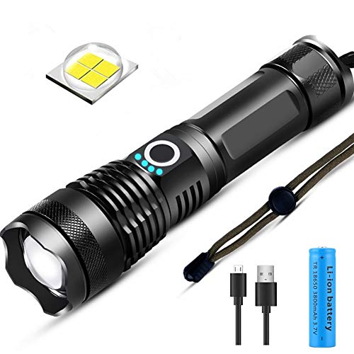 Torcia LED Ricaricabili,Potente 3000 Lumens Torcia LED,Torcia Retrattile Impermeabile 5 Modalità di illuminazione Con Ricaricabili 3800mAH 18650 Batterie