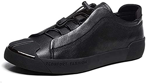 LOVDRAM Décontracté chaussures Fashion Hommes's chaussures Spring and Autumn New noir Head Layer PU Elastic Round Head Décontracté chaussures Metal Toe Cap Fashion Hommes's chaussures