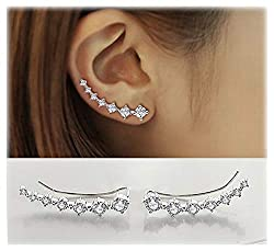 7 Crystals Ear Cuffs Hoop Climber S925 Sterling Silver Earrings