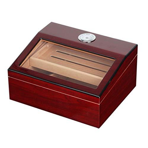 Rangements 50 humidificateurs à cigares Humidificateur à deux couches Boîte de rangement pour cigares en bois massif Armoire à cigares à humidité constante Équipé d'un humidificateur et d'un hygromètr