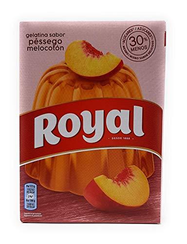 Royal, Gelatina in Polvere, Gusto Pesca, 30% Zuccheri in Meno, 114 gr