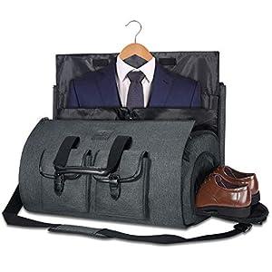 Bolsa Portatrajes Funda de Viaje para Traje Bolso Porta Trajes Ropa Vestidos Carry-On Garment Bag con Compartimentos para Zapatos y Correa Ajustable para Hombro Hombres Mujeres (Gris Oscuro 2)