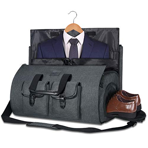 UNIQUEBELLA Suit Bag Suit Carrier Travel Duffel Bag for Men 45L with Shoes Compartment (Dark Grey)