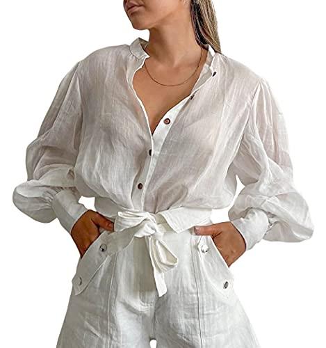 Meladyan Loose Button Down See Through Sheer Blouse Cotton Lantern Puff Long Sleeve Stand Collar Shirt Top Outfit White