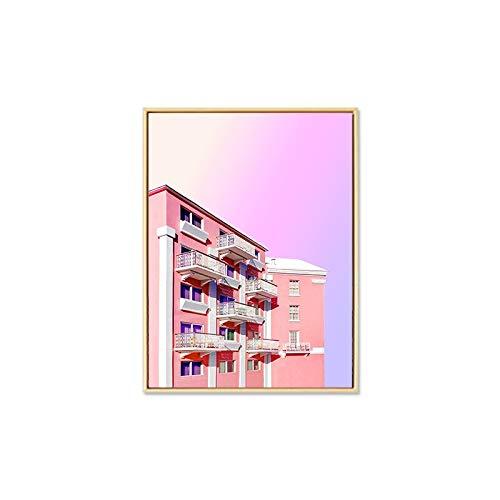 JXMK Nórdico Flor Rosa Arte de la Pared Lienzo Pintura Cartel impresión Arquitectura Paisaje Pared Sala de Estar Imagen Moderna decoración del hogar 30x40 cm sin Marco