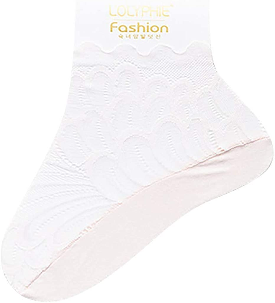 FIN86 Cotton Thick Cushioned Ankle Socks,Womens Cotton Blend Lace Antiskid Invisible Low Cut Socks Toe Ankle Sock