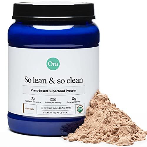 Ora Organic Vegan Protein Powder - 22g Plant Based Protein Powder for Women and Men | Keto Friendly, Gluten Free, Paleo, Dairy-Free, Gluten-Free, Soy-Free - Chocolate Flavor, 20 Servings