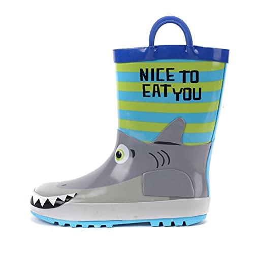 Alysays Children's Rubber Boots Waterproof Rain Boots Children 3D Cartoon Piranha Toddler Boys Rain Boots Toddler Boots (Color : Sky Blue, Shoe Size : 6)