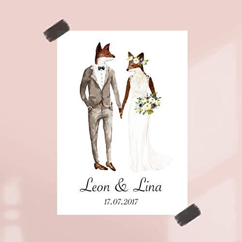 Poster Hochzeitspaar Fuchs mit Namen & Datum | ungerahmt |Geschenkidee | Geschenke für Paare zur Hochzeit | Personalisierte Hochzeitsgeschenke