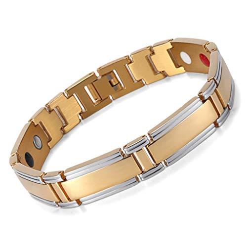 Sisyria Überzug 4 Elemtnts gesundes Armband, Edelstahl-magnetische Therapie-Armband für Männer und Frauen, Schmerzlinderung bei Arthritis und Karpaltunnel,Gold