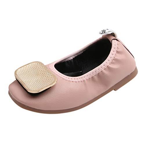 Igemy Chaussures Bébé Fille Semelle Souple Chaussures de Marche Boucle Métal Mode Danse Chaussures Antidérapant Simple Chaussures Enfant Princesse pour 15 Mois - 6 Ans - Rose - rose, 25 EU