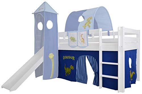 Mobi Furniture 3tlg. Vorhang Set Höhle Dinosaurier für Hochbett Spielbett Vorhänge Kinderbett