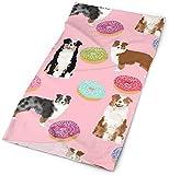 NA Australian Shepherds Pink Hund Stoff Süße Donuts Stoff Süßigkeiten Pink Aussie Hund Design Hund Muster niedlich Stirnband Bandana Cap Schal Gesichtsmaske Halstuch Kopftuch Kopftuch Sonne UV-Schutz
