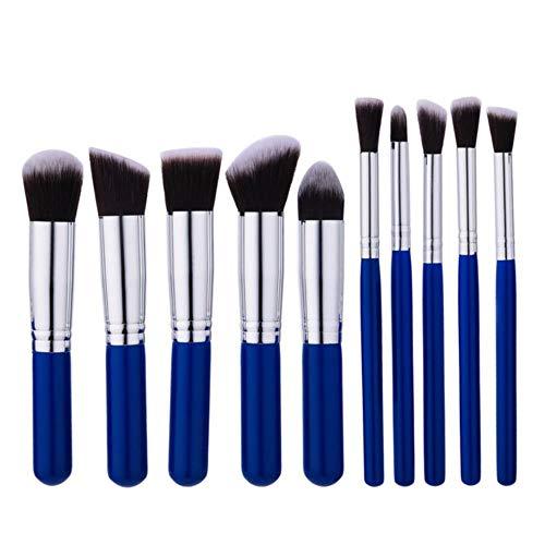 ASDFG Pinceaux de Maquillage Set Powder Foundation Ombre à paupières Lip Beauty Make Up Brushes Cosmétiques 10/4 / 1pcs, Bleu Blanc 10pcs