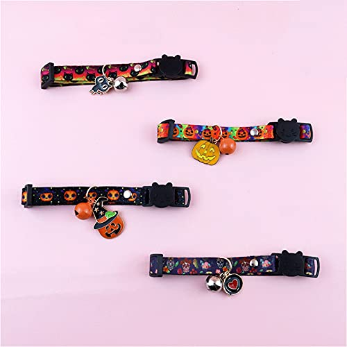 ZXZCHGN 4 Piezas de Collar Ajustable for Mascotas, cráneo de Calabaza de impresión de Halloween Ajustable, con Campanas de Moda de Estilo único Collares Gato Adorable decoración
