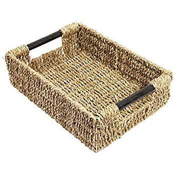 Woodluv - Cesta de almacenamiento de hierba marina nueva con asas de madera Cesta de almacenamiento mediana