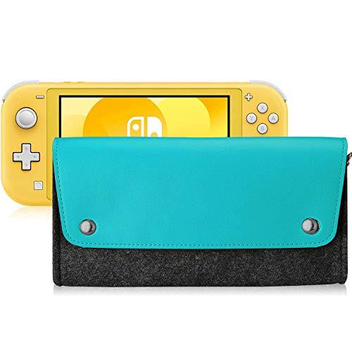 Polaland Funda de Viaje para Switch Lite, Bolsa Blanda de Fieltro Suave de Transporte con 4 Cartuchuos de Juego y Tapa Magnética, Bolso de Tela para Nintendo Switch Lite 2019 –Cerceta