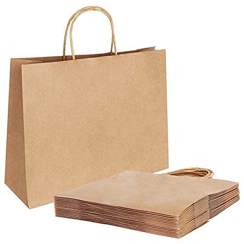 20 Stück Papiertüten Braun,Geschenktüten 30 x 12x 23cm Papiertüten mit Henkel,Geschenktüten Papier,Papiertüten Groß