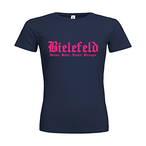 MDMA Frauen T-Shirt Classic Bielefeld Harder, Better, Faster, Stronger N14-mdma-ftc00293-156 Textil navy / Motiv neonpink / Gr. XXL