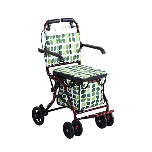 YUEZPKF Confiar en Caminar Walker for Seniors Rollator 4 Wheels Caminando Rollator, Movilidad Plegable Ayuda para Caminar, Asiento de Altura Ajustable Walker, Trolley de aleación de Aluminio