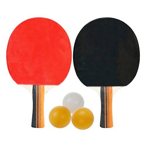ABOOFAN 1 juego de raqueta de tenis de mesa de madera con doble espinilla – en raqueta de pingpong con 3 pelotas de tenis de mesa para jugador adolescente (negro y rojo mango largo horizontal)