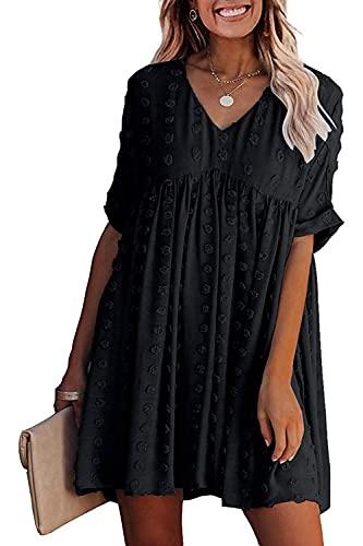 Sommerkleid Damen V Ausschnitt Kleider Elegant Kurzarm Freizeitkleid Tunika Kleid Sexy Strandkleider Lose Swing Kleid (XL, Schwarz)
